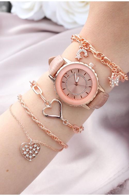 Metal bileklik tasarımlı pudra renk deri kordonlu kadın saat kombini